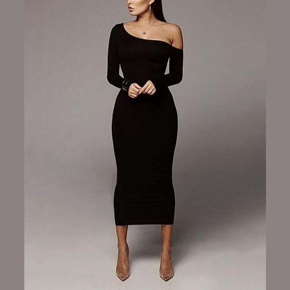 Fashion Dresses & Skirts - [FASHION]Asymmetric Long Sleeve Maxi Dress